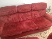 Three piece suite & 2 arm chairs FREE
