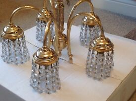 Solid brass / crystal 5 arm ceiling light fitting