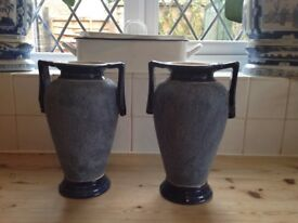 PAIR OF FINE HEAVY STONEWARE GRECIAN STYLE VASES / EWERS ~price is for the pair