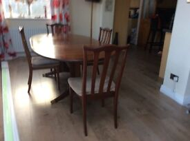 Gplan wood table and four chairs