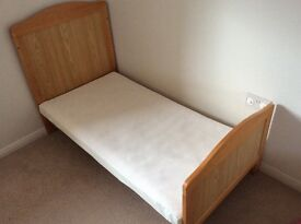 Cot/Bed from Babies R Us, mattress, pillow, duvet set from Mothercare