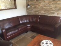 STUNNING RETRO LOOKING CORNER LEATHER SOFA £460 Ono see matching chair and footstool.