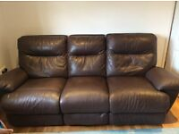 Dark brown leather recliner sofa, 3 seat with electric recline