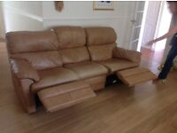 Three seater leather settee