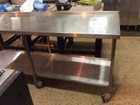 Stainless steel trolley table double deck on wheels with brakes