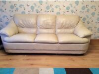 2 and 3 seater cream leather suite Mint condition