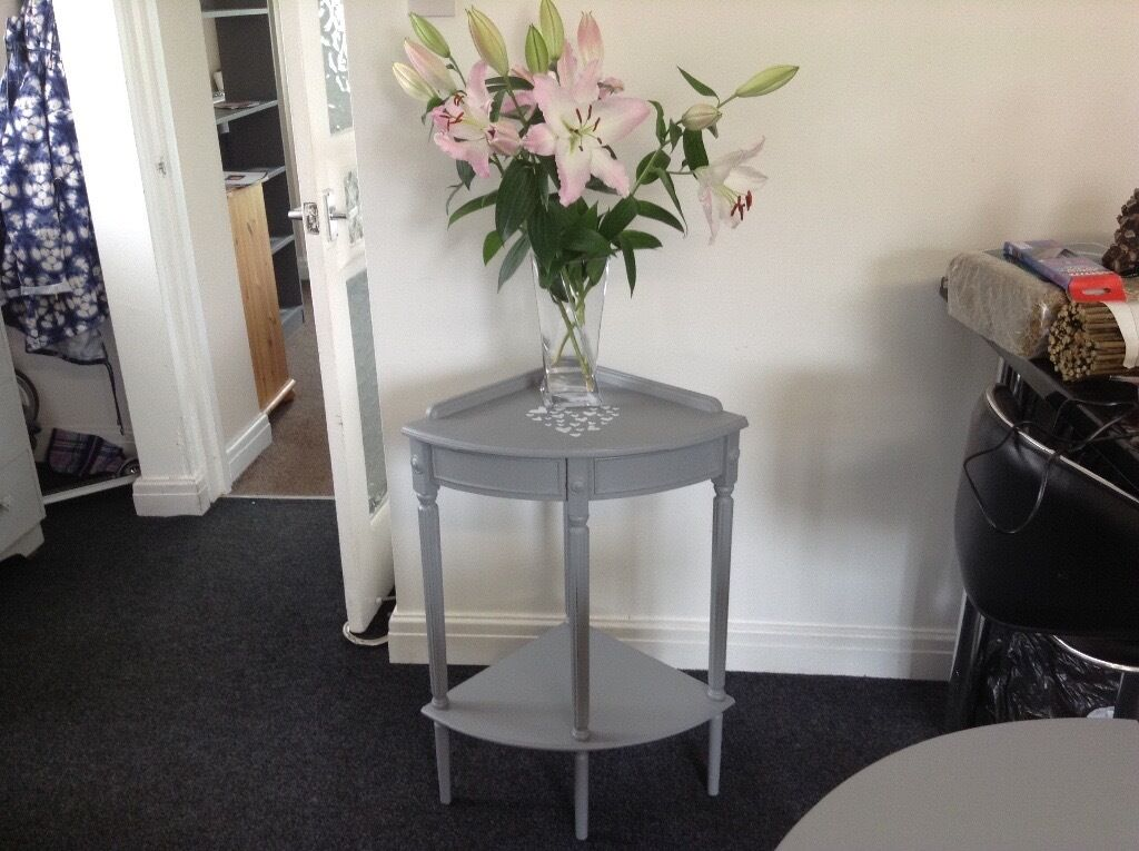 shabby chic french grey corner table telephone table hallway console in heywood manchester. Black Bedroom Furniture Sets. Home Design Ideas