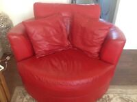 Red leather corner suite and cuddle chair