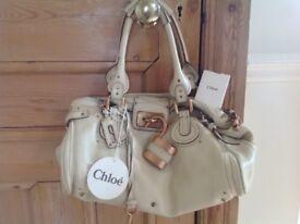 Cream leather Chloe Paddington Handbag