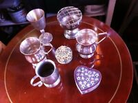 assortment of silver plated mugs and goblets plus mini jewellery cases