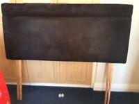 Double Headboard in Black Faux Suede