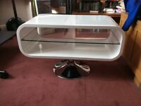 White and glass Retro style TV stand
