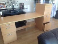 Office desk , pedestal drawers, filing cabinet in nice quality beech