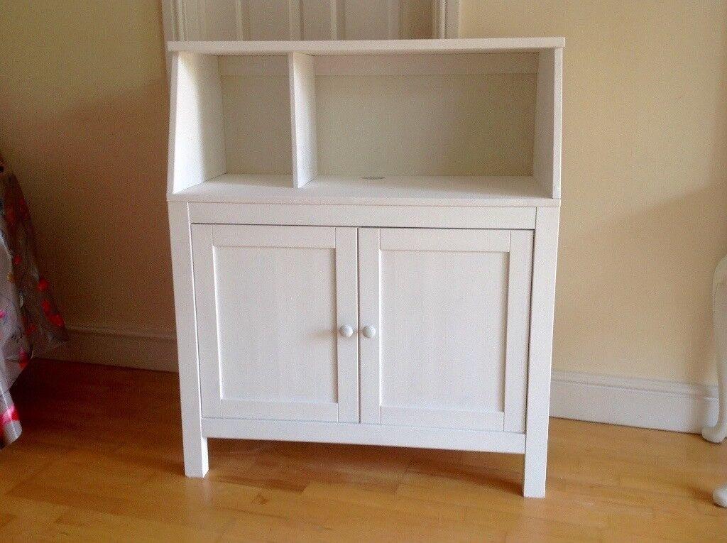 White Solid Wood Cupboard With Shelf Desk Bookcase Ikea