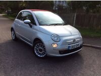 Fiat 500C Lounge 0.9 Twinair 2012 Silver with red roof