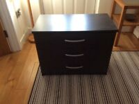 3 drawer chest of drawers wood effect