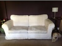Cottage style cream 3 seat sofa with removable, washable covers