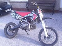 pitbike demon x 160 large cr70 size with big wheels rebuilt motor still needs running in