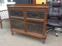 Vintage solid oak bookcase / display cupboard