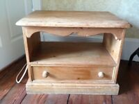 Pine table unit with drawer and shelf
