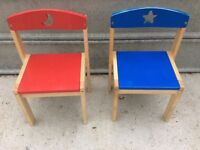 Pair of Childrens wooden chairs excellent condition.