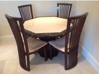 Marble Octagonal Table and 4 Chairs