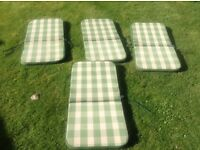 4 seat cushions for garden chairs £10