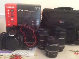 Cannon EOS 550D IS Double Zoom Kit plus extra EFS 10-22mm Zoom lens - 3 Lenses in total