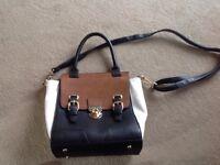Marks and spencer off white/ black/ tan handbag