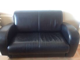 Black barker and stone house leather 2 seater sofa