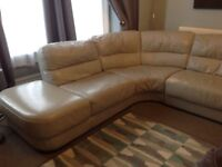 Grey leather corner suite (sofa) from stokers