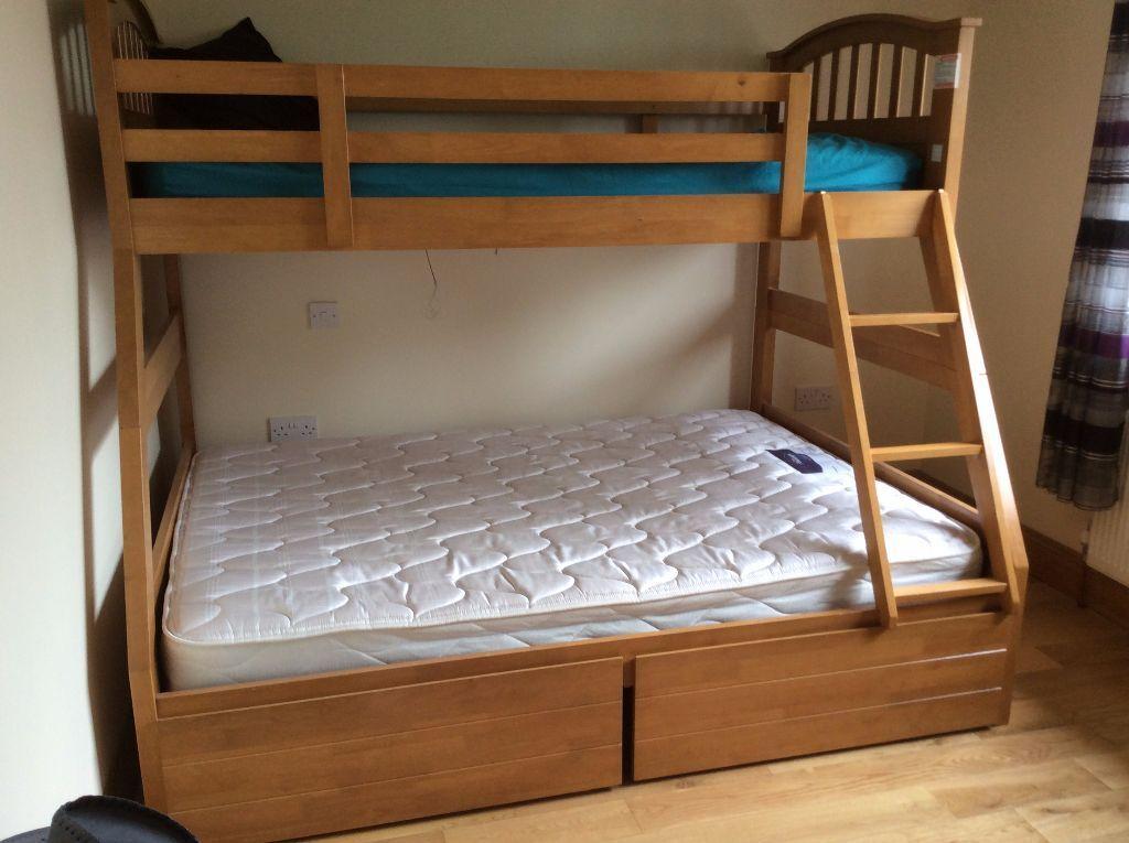 Triple Bunk Bed 3 Sleeper Storage Kids Double Single Wooden Frame