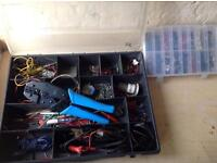 Heavy duty electrical crimping pliers and box of assorted terminal connections