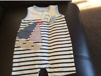 Brand new boys aged 3 to 6 months romper suit