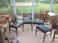 Vintage retro 4 teak dining room chairs,black upholstery VGC