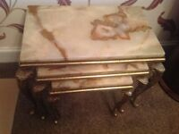 Side tables in marble & brass