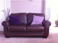 Brown leather 2 seater sofa and chair in great condition