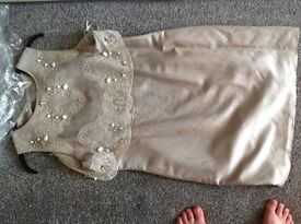 MInt Velvet beige dress with chiffon beaded attached cape size 16