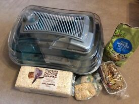 Rosewood Abode Silver Dwarf Hamster and Mouse Home - hamster cage, bedding and food