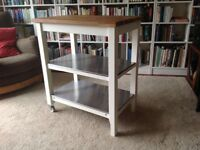 White painted wood, oak and steel Ikea kitchen trolley/Island in excellent used condition