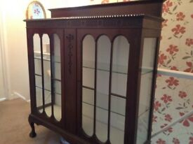 Mahogany ,glass fronted cabinet,good condition ,collection only