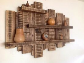 Rustic wooden shelving in various styles from reclaimed timber.