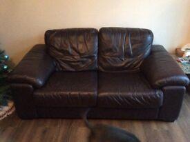 Dark Brown Leather 3 & 2 seater sofa