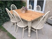 Lovely pine farmhouse table and 6 Ercol chairs, Vintro chalk paint