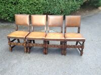 FOUR OAK AND LEATHER TUDOR STYLE DINING ROOM CHAIRS