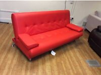 Venice Sofa Bed - Red Faux Leather - Ex Display - £150 Including Free Local Delivery