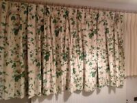 5 ft Drop Curtains / Curtain Set - Sanderson Lavinia Fern Fabric - Floral Print Curtain Set