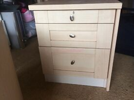 Bedside table three drawers