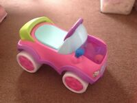 Immaculate Bright Starts pink baby/toddler ride on car Pop & Roll Roadster