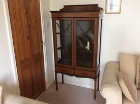 Antique Edwardian Display Case / China Cabinet